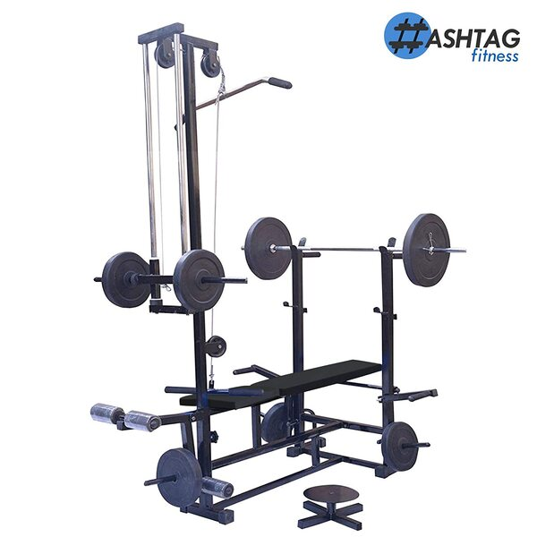 HASHTAG FITNESS Home Gym Combo 20 in 1 Bench with 80 kg Weight Home Gym & Fitness kit