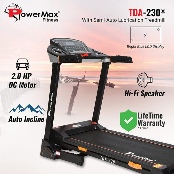 Powermax Fitness TDA-230 (2.0 HP), Semi-Auto Lubrication, Motorized Treadmill with 15 level Auto Inclination
