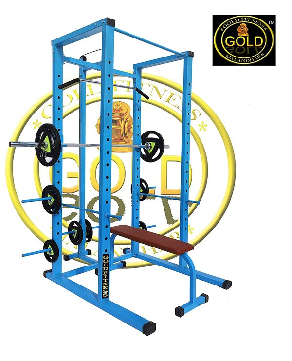 GOLD FITNESS Power Squat Rack CAGE with LAT/Pull Down Attachment and 700 KGS Capacity