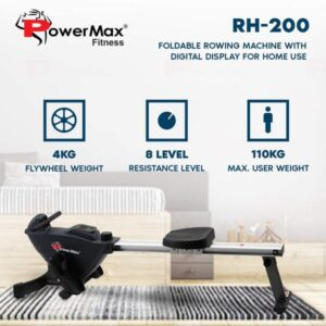 PowerMax Fitness RH-200 Rowing Machine with Digital Display for Home use