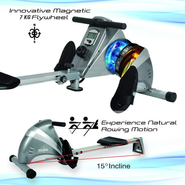Stunner Fitness SRX-550 Magnetic Rowing Machine with 10 Resistance Levels & LCD Display for Cardio Workout at Home