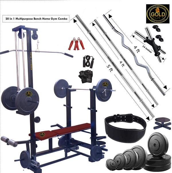GOLD FITNESS Home Gym Combo 20 in 1 Bench with 80 kg Weight