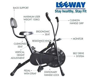 LEEWAY Steel Air Bike Exercise Cycle With Back Support
